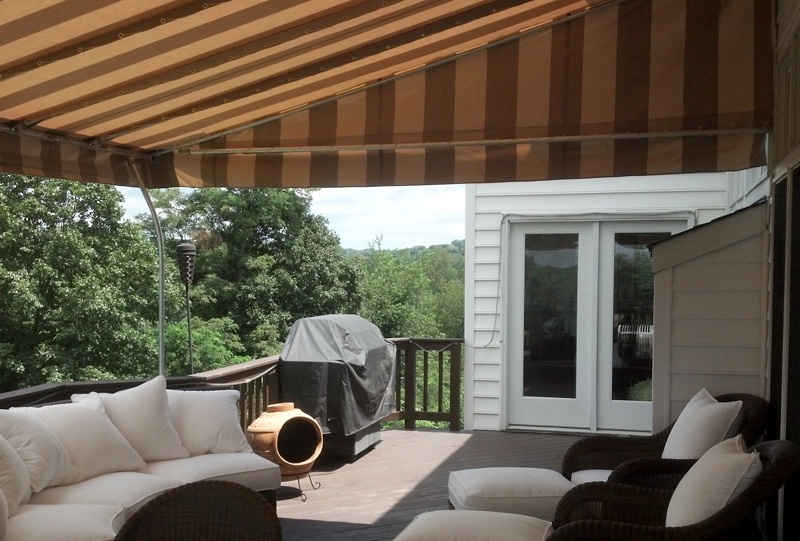 Residential stationary deck awning.