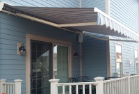 Residential adjustable pitch retractable deck awning 13.