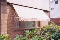 Residential retractable drop arm window awning 21a.
