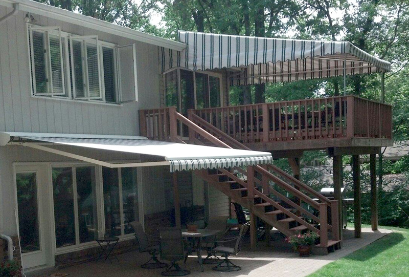 Residential retractable patio and stationary deck awnings 9.
