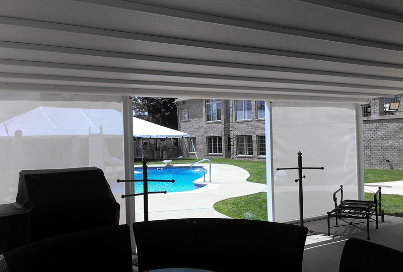 Bethel Park Patio Awning - Residential waterproof retractable roof awning with drop screens 2b.