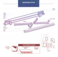 Adjustable pitch retractable awning diagram.